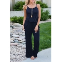 Womens Jumpsuits Creative Plain Drawstring Waist Spaghetti Strap Loose Fitted Scoop Neck Jumpsuits