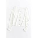 Comfortable Solid Color Knitted Button Up Round Neck Long Sleeve Slim Fit Shirt for Ladies