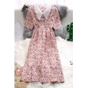 Trendy Ditsy Floral Print Pleated Gathered Waist Peter Pan Collar Short Sleeve Chiffon Midi A-Line Dress for Women
