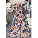 Womens Trendy Tropical Leaf Floral Print Waisted Pleated Patchwork Split Front Off the Shoulder Midi A-line Dress