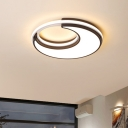 Acrylic Moon Flush Light Fixture Nordic LED Close to Ceiling Lighting in Black for Bedroom, Warm/White Light