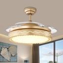 Black/Gold Round Hanging Fan Lamp Minimalist 19