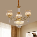 Tiered Tapered Crystal Chandelier Post-Modern 3 Lights Black/Gold Suspension Lamp with Cylinder Shade