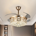 Modern Drum Fan Light Kit Faceted Crystal 4-Blade LED Bedroom Semi Flush Mount Ceiling Fixture in Gold, 19