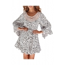 Popular Ladies Polka Dot Printed Bell Sleeves Hollow Out Patched Round Neck Bow Tied Waist Ruffled Short A-line Dress in White