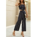 Trendy Womens Stripe Printed Square Neck Regular Fit Bow Tied Crop Tank & Ankle Wide-leg Pants Set in Blue