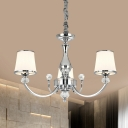 Tapered Milk Glass Pendant Light Modern 3/6-Head Chrome/Gold Chandelier Lamp for Living Room
