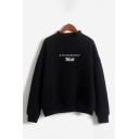 Womens Fashionable Pullover Sweatshirt Letter Strawberry Milk Pattern Cuffed Mock Neck Long Sleeve Loose Fit Pullover Sweatshirt