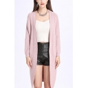 Chic Simple Plain Open Front Batwing Long Sleeve Longline Cardigan