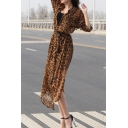 Popular Leopard Printed Long Sleeve Gathered Waist Slim Fit Longline Hooded Trench Coat Dress