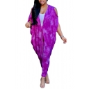 Basic Womens 3D Jumpsuits Tie Dye Cut-out Ankle Length Short Bat-Wing Sleeve V-Neck Loose Fitted Jumpsuits