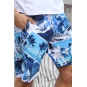 Casual Guys All Over Printed Drawstring Waist Straight Shorts in Blue