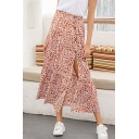 Womens Skirt Stylish Ditsy Floral Pattern Button Split Detail Frill-Trimmed High Rise Maxi A-Line Red Swing Skirt