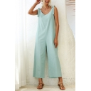 Classic Womens Jumpsuits Plain Backless Knot Strap V-Neck Loose Fitted Sleeveless Cropped Wide Leg Jumpsuits