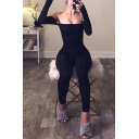 Retro Womens Jumpsuits Solid Color Cold Shoulder 7/8 Length Skinny Fitted Long Sleeve Jumpsuits