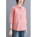 Stylish Solid Color Chest Pocket Button Detail Turn-down Collar 3/4 Sleeve Relaxed Fit High Low Shirt for Women