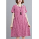 Casual Jacquard Pleated Round Neck Short Sleeve Mini Swing T Shirt Dress for Women