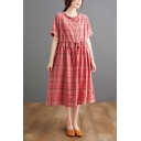 Vintage Womens Plaid Printed Stringy Selvedge Chest Pocket Drawstring Waist Button Front Collarless Short Sleeve Midi A-Line Dress