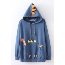 Womens Fashion Cartoon Dinosaur Printed Long Sleeve Drawstring Pouch Pocket Relaxed Fit Hoodie