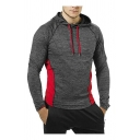 Classic Mens Hoodie Color Block Stitching Cuffed Drawstring Slim Fitted Long Sleeve Hoodie