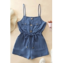 Cool Womens Rompers Solid Color Front Button Detail Chest Pockets Drawstring Waist Sleeveless Spaghetti Strap A-Line Regular Fitted Rompers
