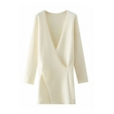 Stylish Womens Solid Color Knit Long Sleeve Surplice Neck Loose Fit Long A-line Sweater Dress