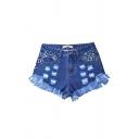 Vintage Womens Blue Shorts Abstract Pattern Rivet Decoration High Waist Fringe Hem Zipper Fly Regular Fitted A-Line Denim Shorts