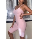Women's Trendy Rompers Plain Strap Backless Sleeveless Skinny Rib-Knit Cut Out Rompers