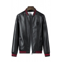 Cool Mens Jacket Patch Stripe Knitted Trim Inside Pocket Zipper up Long Sleeve Stand Collar Regular Fit Leather Jacket
