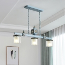 3 Heads Dining Room Island Pendant Nautical Sky/Light Blue Ceiling Lamp with Dual Cylinder Clear and Opal Glass Shade