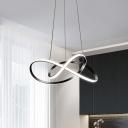 Black Ribbon Chandelier Light Modernism LED Metallic Drop Pendant for Dining Room