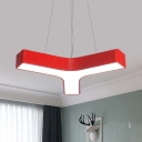 Y-Shape Sitting Room Pendant Light Kit Iron LED Contemporary Ceiling Chandelier in Red/Yellow