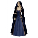 Medieval Velvet Patchwork Long Sleeve Hooded Lace-up Front Floral Trim Maxi Fit & Flared Dress for Ladies