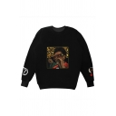 Fashionable Black Letter XO Comic Graphic Sherpa Lined Long Sleeve Crew Neck Loose Fit Pullover Sweatshirt for Men