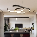LED Restaurant Pendant Chandelier Simplicity Black/White Drop Lamp with Dual C-Shape Metal Shade in Warm/White Light