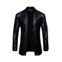 Novelty Mens Jacket Ribbon Detail Stretch PU Cardigan Turn-down Collar Long Sleeve Slim Fitted Leather Jacket