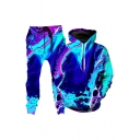 Stylish 3D Abstract Pattern Long Sleeve Drawstring Pouch Pocket Loose Hoodie & Pants Set