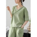 Casual Womens Contrast Piping V Neck Short Sleeve Relaxed T-Shirt & Elastic Waist Pocket Full Length Pants Pajama Set in Green
