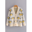 Casual Womens All Over Floral Printed Long Sleeve V-neck Button Up Loose Fit Knit Cardigan