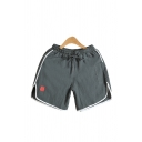 Linen and Cotton Drawstring Waist Contrasted Pipe Slit Sides Relaxed Leisure Shorts for Guys
