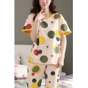 Stylish Womens Cartoon Polka Dot Printed Contrast Trim Stringy Selvedge Short Sleeve Crew Neck Relaxed T-Shirt & Capri Pants Pajama Set in Yellow
