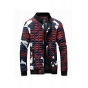 Mens Fashion Jacket Camo Printed Contrast Trim Zip Closure Stand Collar Pockets Long-sleeved Quilted Slim Baseball Jacket