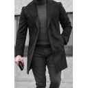 Mens Trench Coat Chic Plain Woolen Cloth Mid-Length Button Detail Notched Lapel Collar Slim Fitted Long Sleeve Trench Coat