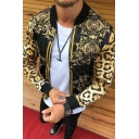 Basic Mens Jacket Leopard Skin Floral Swirl Printed Zipper down Stand Collar Long Sleeve Slim Fitted Varsity Jacket