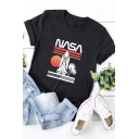 Womens Fashion Palm Rocket Striped Letter Nasa Printed Round Neck Roll Up Short Sleeve Regular Fitted Graphic T-Shirt
