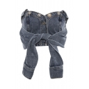 Popular Womens Denim Strapless Tied Front Button up Slim Fit Cropped Top in Blue