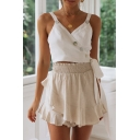 Stylish Womens Solid Color Button Details Surplice Neck Regular Fit Cropped Tank Top