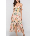 Pretty Womens All over Floral Leaf Print Tulip Hem Backless Off the Shoulder Ruffle Sleeves Midi A-Line Asymmetrical Dress
