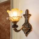Metal Curved Arm Wall Lamp Traditional 1/2 Bulbs Living Room Wall Sconce Lighting in Brass with Flower Glass Shade