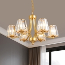 Clear Crystal Cone Chandelier Lamp Modernism 6-Light Gold Ceiling Pendant for Dining Room